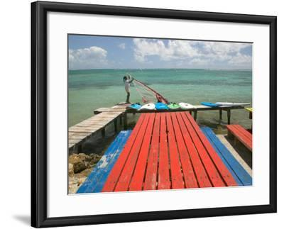 Windsurfers on Caravelle Beach, Grande Terre, Guadaloupe, Caribbean-Walter Bibikow-Framed Premium Photographic Print