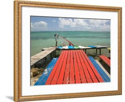 Windsurfers on Caravelle Beach, Grande Terre, Guadaloupe, Caribbean-Walter Bibikow-Framed Photographic Print