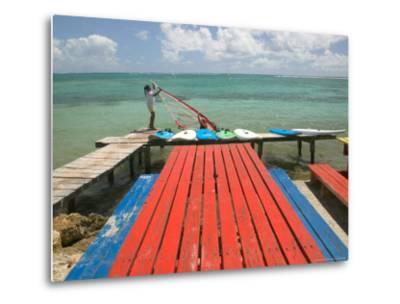 Windsurfers on Caravelle Beach, Grande Terre, Guadaloupe, Caribbean-Walter Bibikow-Metal Print