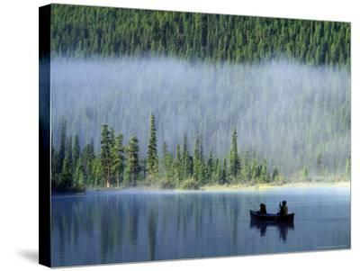 Boys Fishing on Waterfowl Lake, Banff National Park, Alberta, Canada-Janis Miglavs-Stretched Canvas Print