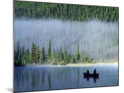 Boys Fishing on Waterfowl Lake, Banff National Park, Alberta, Canada-Janis Miglavs-Mounted Photographic Print