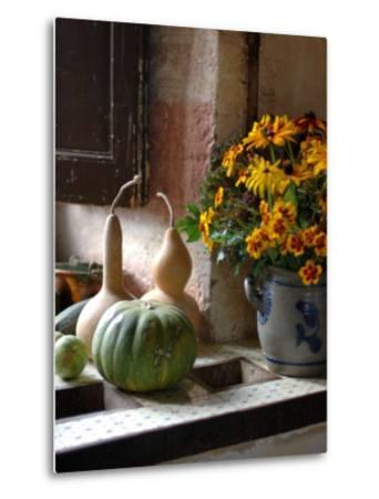 Gourds and Flowers in Kitchen in Chateau de Cormatin, Burgundy, France-Lisa S^ Engelbrecht-Metal Print