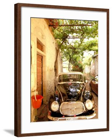 Old Automobile Sedan, Kardamyli, Messina, Peloponnese, Greece-Walter Bibikow-Framed Photographic Print