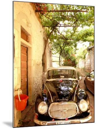 Old Automobile Sedan, Kardamyli, Messina, Peloponnese, Greece-Walter Bibikow-Mounted Photographic Print