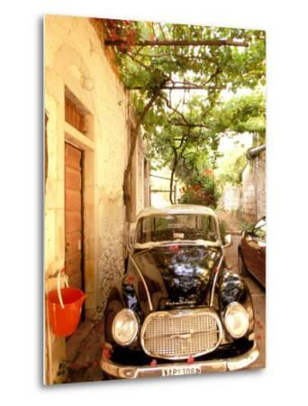 Old Automobile Sedan, Kardamyli, Messina, Peloponnese, Greece-Walter Bibikow-Metal Print