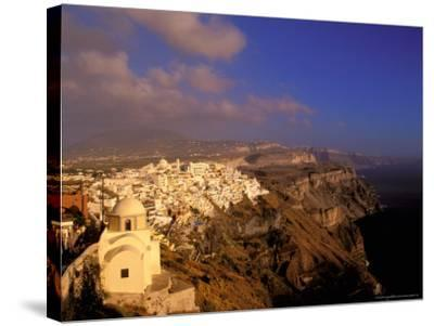 Late Afternoon View of Town, Thira, Santorini, Cyclades Islands, Greece-Walter Bibikow-Stretched Canvas Print