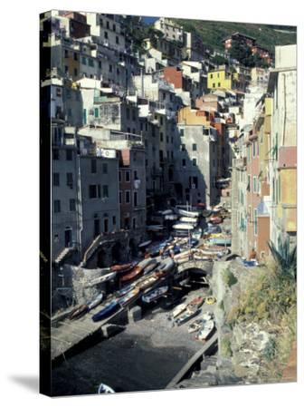 Boats on Downtown Shore, Cinque Terre, Italy-Greg Gawlowski-Stretched Canvas Print