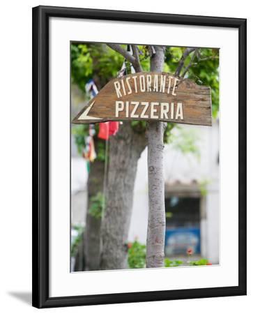 Pizzeria Sign, Positano, Amalfi Coast, Campania, Italy-Walter Bibikow-Framed Photographic Print