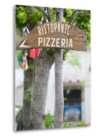 Pizzeria Sign, Positano, Amalfi Coast, Campania, Italy-Walter Bibikow-Metal Print