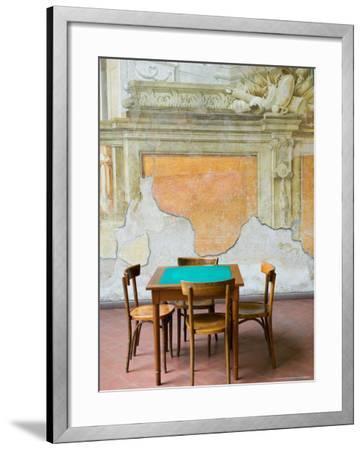 Table and Wall at 15th century Sedile Dominova Social Club, Sorrento, Campania, Italy-Walter Bibikow-Framed Photographic Print