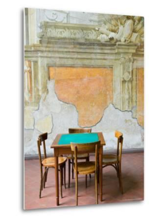 Table and Wall at 15th century Sedile Dominova Social Club, Sorrento, Campania, Italy-Walter Bibikow-Metal Print