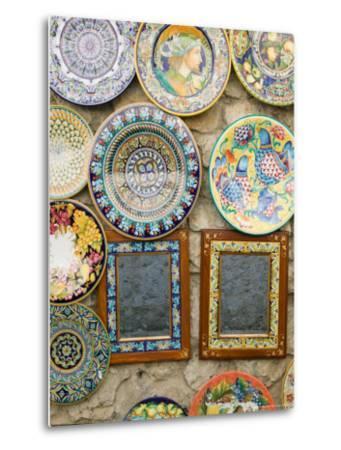 Ceramic Souvenirs, Ravello, Campania, Italy-Walter Bibikow-Metal Print