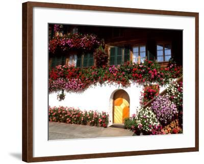 Flowers and Chalet in the Resort Area, Gstaad, Switzerland-Bill Bachmann-Framed Photographic Print