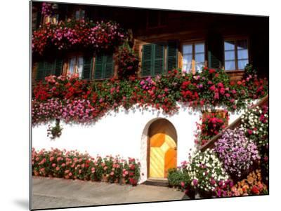 Flowers and Chalet in the Resort Area, Gstaad, Switzerland-Bill Bachmann-Mounted Photographic Print