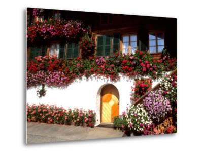 Flowers and Chalet in the Resort Area, Gstaad, Switzerland-Bill Bachmann-Metal Print