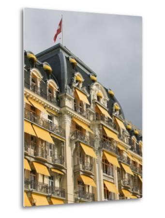 Le Montreux Place Hotel on Lake Geneva, Montreux, Swiss Riviera, Vaud, Switzerland-Walter Bibikow-Metal Print