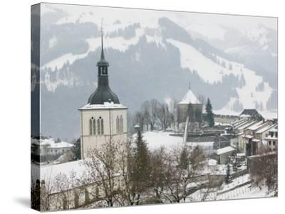 Church View from Gruyeres Castle, Gruyeres, Fribourg, Switzerland-Walter Bibikow-Stretched Canvas Print