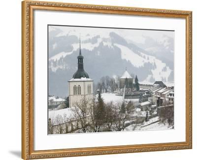Church View from Gruyeres Castle, Gruyeres, Fribourg, Switzerland-Walter Bibikow-Framed Photographic Print