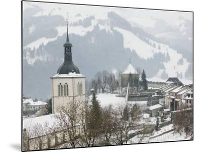 Church View from Gruyeres Castle, Gruyeres, Fribourg, Switzerland-Walter Bibikow-Mounted Photographic Print