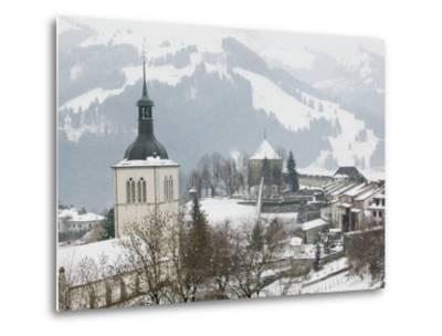 Church View from Gruyeres Castle, Gruyeres, Fribourg, Switzerland-Walter Bibikow-Metal Print