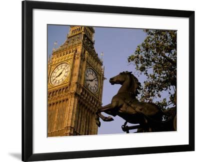Big Ben Clock Tower, London, England-Walter Bibikow-Framed Photographic Print