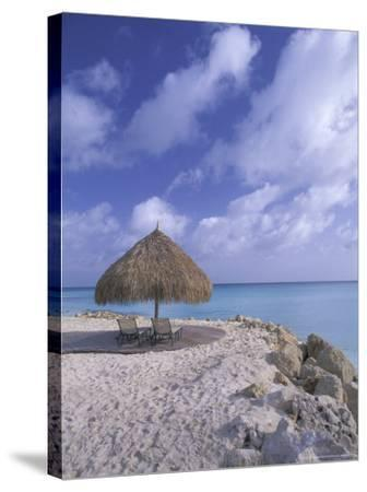 Beach Scene with Chairs and Thatch Awning-Bill Bachmann-Stretched Canvas Print