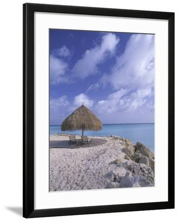 Beach Scene with Chairs and Thatch Awning-Bill Bachmann-Framed Photographic Print