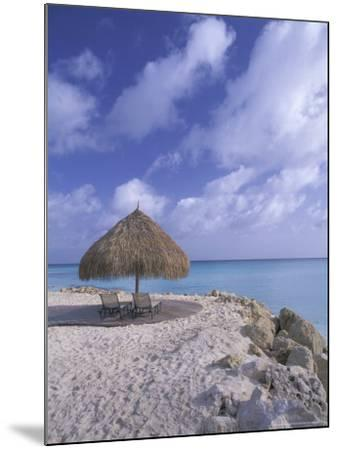 Beach Scene with Chairs and Thatch Awning-Bill Bachmann-Mounted Photographic Print