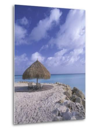 Beach Scene with Chairs and Thatch Awning-Bill Bachmann-Metal Print