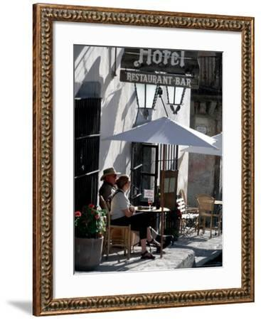 Tourists Drinking Outside a Hotel in Real de Catorce, Mexico-Alexander Nesbitt-Framed Photographic Print