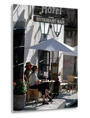 Tourists Drinking Outside a Hotel in Real de Catorce, Mexico-Alexander Nesbitt-Metal Print