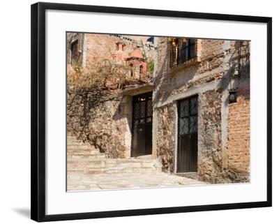 Cobblestone Steps in Hillside Neighborhood, Guanajuato, Mexico-Julie Eggers-Framed Photographic Print