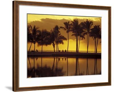 Couple, Palm Trees and Sunset Reflecting in Lagoon at Anaeho'omalu Bay, Big Island, Hawaii, USA-John & Lisa Merrill-Framed Photographic Print