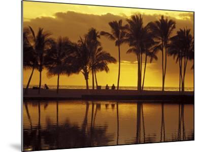 Couple, Palm Trees and Sunset Reflecting in Lagoon at Anaeho'omalu Bay, Big Island, Hawaii, USA-John & Lisa Merrill-Mounted Photographic Print