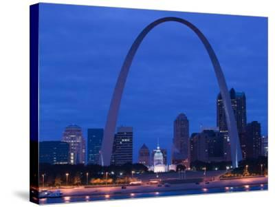 Old Courthouse and Gateway Arch Area along Mississippi River, St. Louis, Missouri, USA-Walter Bibikow-Stretched Canvas Print