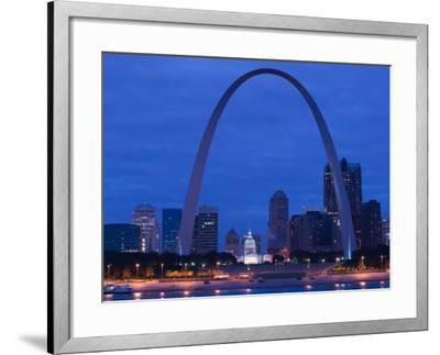 Old Courthouse and Gateway Arch Area along Mississippi River, St. Louis, Missouri, USA-Walter Bibikow-Framed Photographic Print