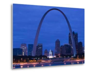 Old Courthouse and Gateway Arch Area along Mississippi River, St. Louis, Missouri, USA-Walter Bibikow-Metal Print