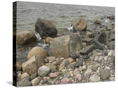 Large and Small Rocks on the Shore with Water Splashing--Stretched Canvas Print