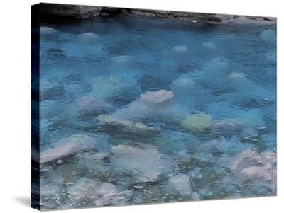 Raindrops on the Surface of a Flowing River--Stretched Canvas Print
