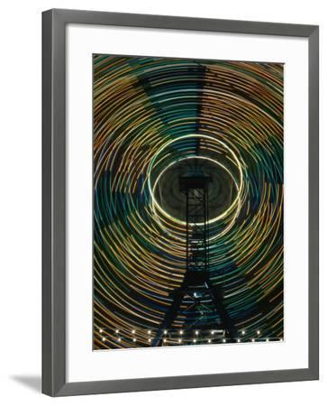 Lights of the Ferris-Wheel at the Royal Melbourne Agricultural Show, Melbourne,Victoria, Australia-Dallas Stribley-Framed Photographic Print