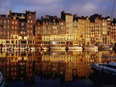 Morning Reflections of Vieux Bassin, Honfleur, Basse-Normandy, France-Diana Mayfield-Photographic Print