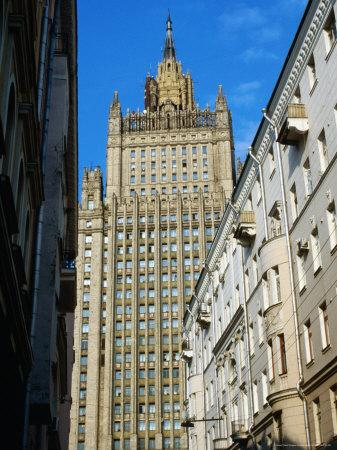 Central Tower of Foreign Affairs Ministry, Seen from Side Street Near Ulitsa Arbat, Moscow, Russia-Jonathan Smith-Framed Photographic Print