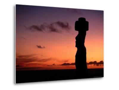 Ancient Moai at Ahu Ko Te Riku at Sunset, Easter Island, Valparaiso, Chile-Jan Stromme-Metal Print