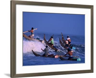 Fishermen Paddle Their Cabillitos De Totora Reed Boats Out Through Waves, Pimentel, Peru-Paul Kennedy-Framed Photographic Print