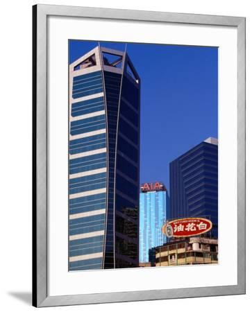 Old and New Buildings at Causeway Bay, Hong Kong, China-Lawrence Worcester-Framed Photographic Print