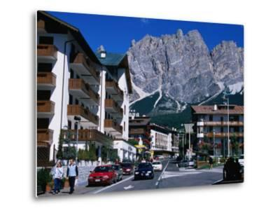 Apartment Buildings with Cliffs of Cristallo Group Behind, Cortina, Veneto, Italy-Grant Dixon-Metal Print