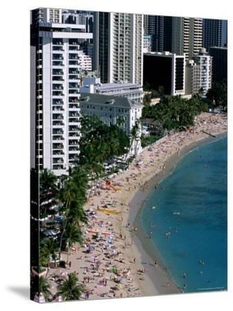 Aerial View of Waikiki Beach, Honolulu, USA-Holger Leue-Stretched Canvas Print