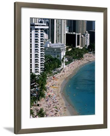 Aerial View of Waikiki Beach, Honolulu, USA-Holger Leue-Framed Photographic Print