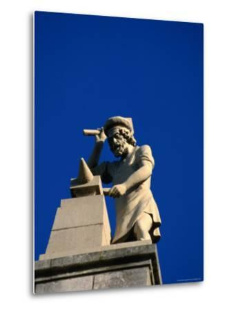 Figure of a Blacksmith on the Roof of the Rijksmuseum, Amsterdam, Netherlands-Martin Moos-Metal Print