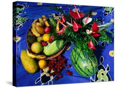 Flowers and Fruits on a Cloth, Castle Comfort, Dominica-Michael Lawrence-Stretched Canvas Print